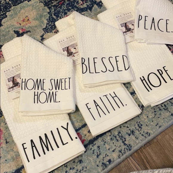 6 Rae Dunn kitchen towels blessed faith hope peace
